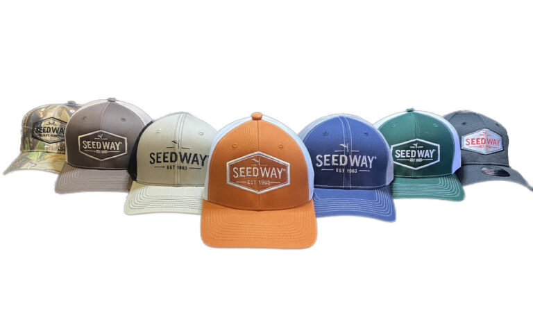 A collection of Seedway hats and headwear